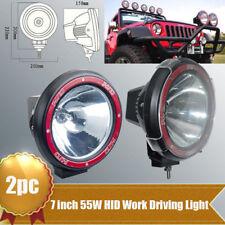 """2pcs 7"""" 55W 12V 4"""" HID Work Light 6000K H3 Bulb Spot UTE ATV Offroad Fog lamp"""