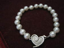 "MARY KAY 7 3/4"" Individually Knotted 8mm Pearl Bracelet w/ Heart Logo Clasp LQQK"