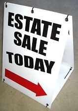 """ESTATE SALE """"TODAY"""" WITH ARROW Sandwich Board Sign 2-sided Kit NEW white"""