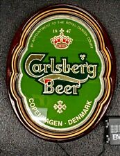 "Carlsberg Beer Sign Vintage 1987 13""X 16"" Rare & Unique No Other Like This One"