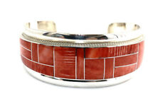 Native American Sterling Silver Zuni Spiny Oyster Inlay Cuff Bracelet