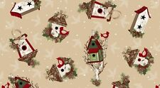 A CHRISTMAS TO REMEMBER BIRDHOUSES PINECONES HOLLY FABRIC