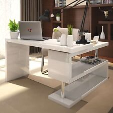 White High Gloss Large Computer PC Home Executive Study Office Corner Desk