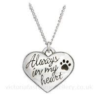 """Always in my heart"" PENDANT NECKLACE B, Sterling Silver Plate, Dog Cat Pet Paw"