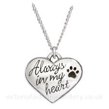 """""""Always in my heart"""" PENDANT NECKLACE B, Sterling Silver Plate, Dog Cat Pet Paw"""