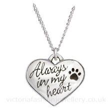 """""""siempre en mi corazón"""" Colgante Collar B, de plata esterlina, Placa De Perro Gato Mascota Paw"""