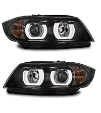 2 FEUX PHARE AVANT ANGEL EYES LED TUBE 3D BMW SERIE 3 E90 E91 PHASE 1 DE 12/2004