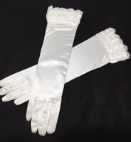 """White Tiered Lace Pearl Accent Bridal Evening Party Wedding Long Gloves 15"""" NEW"""