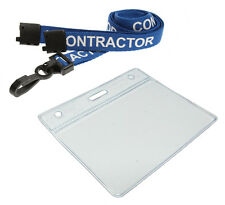 Contractor Neck Strap Lanyard Safety Breakaway & ID Badge Pocket Pouch x 1
