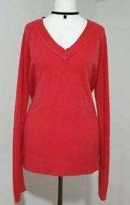 TU Jumper Soft Knitted V-Neck Long Sleeved Coral Pink UK-14 VGC