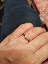 9ct White Gold Solitaire Diamond Ring Size Q/R