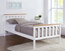 Single Size White Wooden Bed Pine Oak Top Frame With Mattress