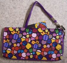 Romero Britto Wristlet Clutch Wallet 3 sided zipper Flowers NEW with strap