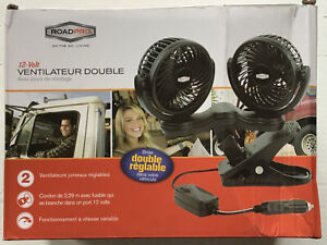 RoadPro RPSC8572 12-Volt Dual Fan with Mounting Clip Variable Speed