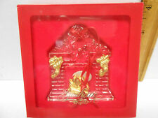 Gorham Glass Fireplace & Stockings Christmas Ornament with Box -