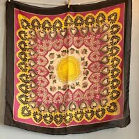 28″ Square Pink Yellow Floral Scarf Vintage Hearts Roses