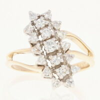 Diamond Waterfall Ring - 10k Gold Cluster Bypass Round Brilliant .50ctw