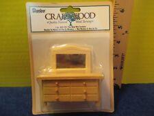 miniature PINE WOOD BUREAU W/ MIRROR Craftwood 2010 in original unopened package