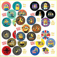 Minions Stickers - 60 Dots - 10 Sheets - Rewards Teachers Party Favours - Movie