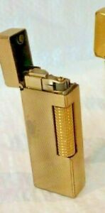 WORKING Dunhill Rollagas Lighter Gold Plated Barley, Switzerland.
