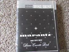 New listing Marantz Sd142 Sd242 Stereo Cassette Original Service Repair Manual