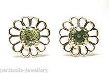 9ct Gold Round Peridot Stud earrings Made in UK Gift Boxed Studs