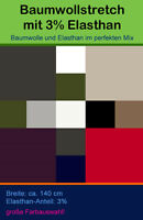 Baumwoll Stretchstoff Meterware 3 % Elasthan 97% Baumwolle Hosenstoff Stretch