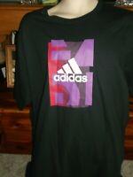 NEW Adidas T Shirt SZ XL100% COTTON BLACK WITH ADIDAS DESIGN S/S
