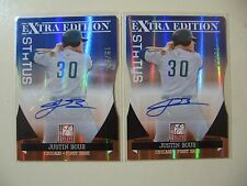 2x) 2011 Elite Status Justin Bour RC Rookie AUTO subsequently #ed 15/50 & 16/50
