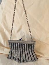 Antique Purse Black Fine Crochet Knit Silver Metal Bead & Embossed Frame