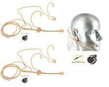 2PCS Tan Beige Gooseneck Boom Headset Microphone for Shure Wireless Body Pack
