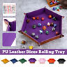 Quadrilateral/Hexagon Dice Tray Dices Rolling Holder PU Leather Storage Holder