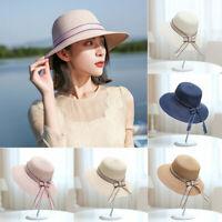 Summer Women Floppy Beach Straw Hats Ladies Foldable Wide Brim Holiday Sun Cap