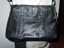 Harley Davidson black Leather Purse shoulder handbag w/silver studs/logo/charms