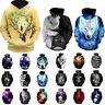 3D Painted Wolf Skull Pattern Men's Hoodie Sweatshirt Cold Cool Coat Top Shirt