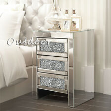 Glass Bedroom Table Mirrored Furniture Chest of Drawer Bedside Cabinet Organizer