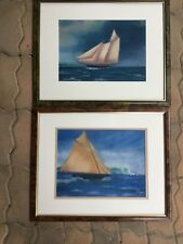 Pair of pastel sailing ship Signed framed painting