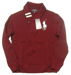 Polo Ralph Lauren Boys Burgundy Big Pony Shawl Collar Fleece Lined Sweatshirt