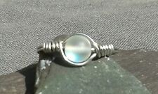 Handmade White Rainbow Moonstone Wire Wrapped Silver Ring  ANY SIZE