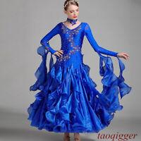 Womens Ballroom Competition Dance Dress Modern Waltz Tango Standard long Dress
