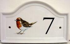 Robin Bird House Numero Porta Placca in ceramica casa segno QUALSIASI NUMERO