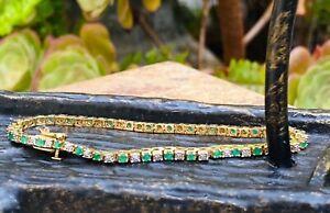 "$10,000 14K Gold 3.0 CTW Diamond Emerald 7.5"" Tennis Bracelet 9.2 Grams"