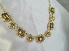 NWT MONET GOLD & TOPAZ COLORED STONES with CRYSTALS, FLOWER DESIGN NECKLACE,