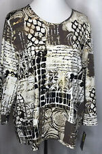 Allison Daley XL Woman's Black/Beige/Gold Blouse 3/4 Sleeves Washable Modern