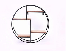 Unique Metal Round Wall Shelf 40cm Wooden Shelves Hanging Home Display