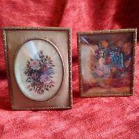Rare paire miniatures sur porcelaine signées Rossi parfait état avec encadrement