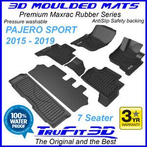 Fit Mitsubishi Pajero Sport 2015 - 2021 3D Maxtrac Black Rubber Floor Mats