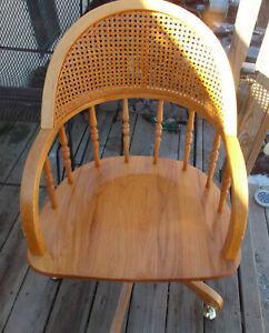 Oak Mid Century Cane Back Office Chair / Swivel Armchair