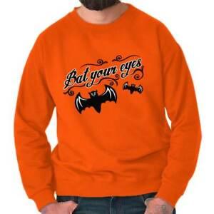 Bat Your Eyes Halloween Funny Trick Or Treat Adult Long Sleeve Crew Sweatshirt