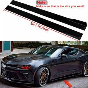 78.7'' Side Skirts Rocker Panel Bottom Line Glossy Black For Chevrolet Camaro